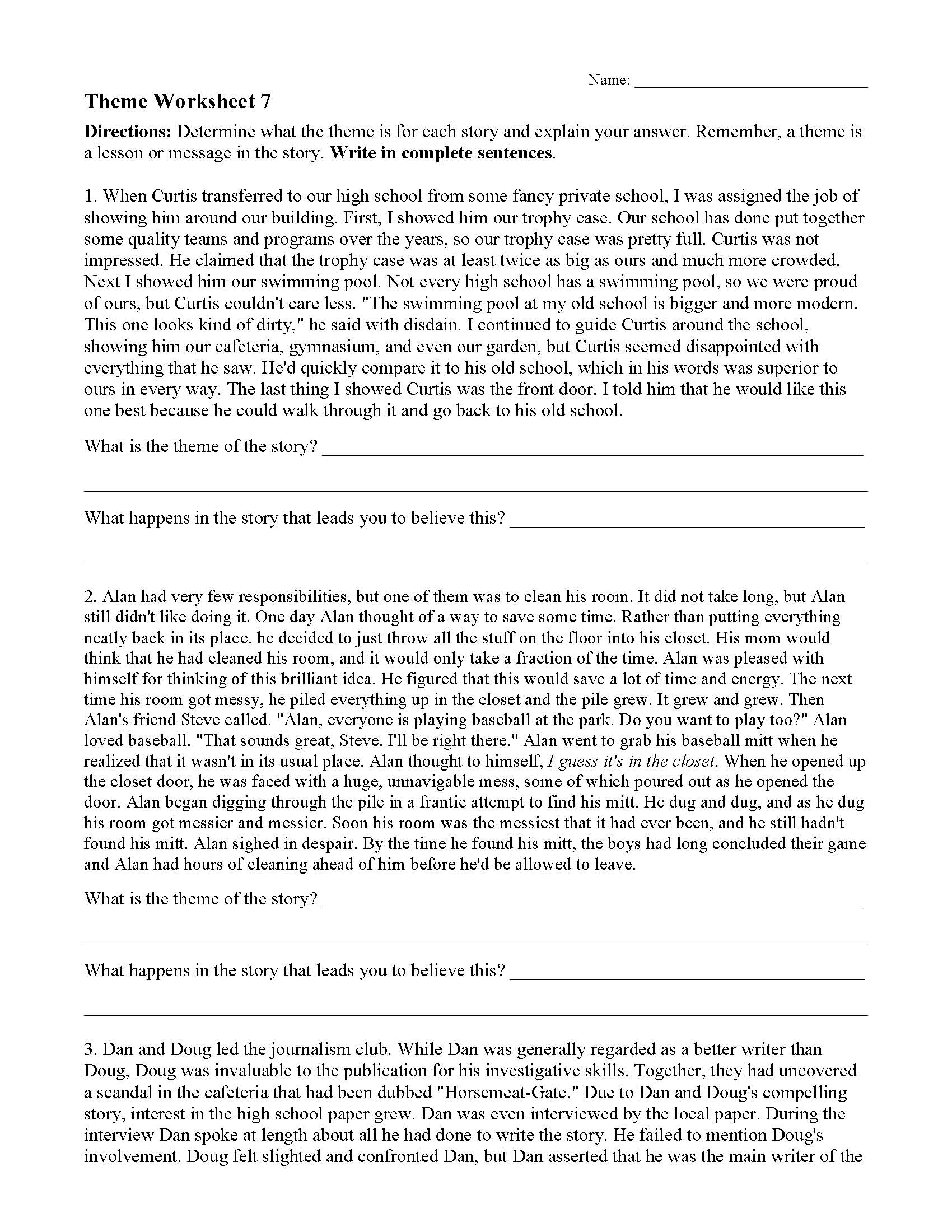 Theme Worksheet 7