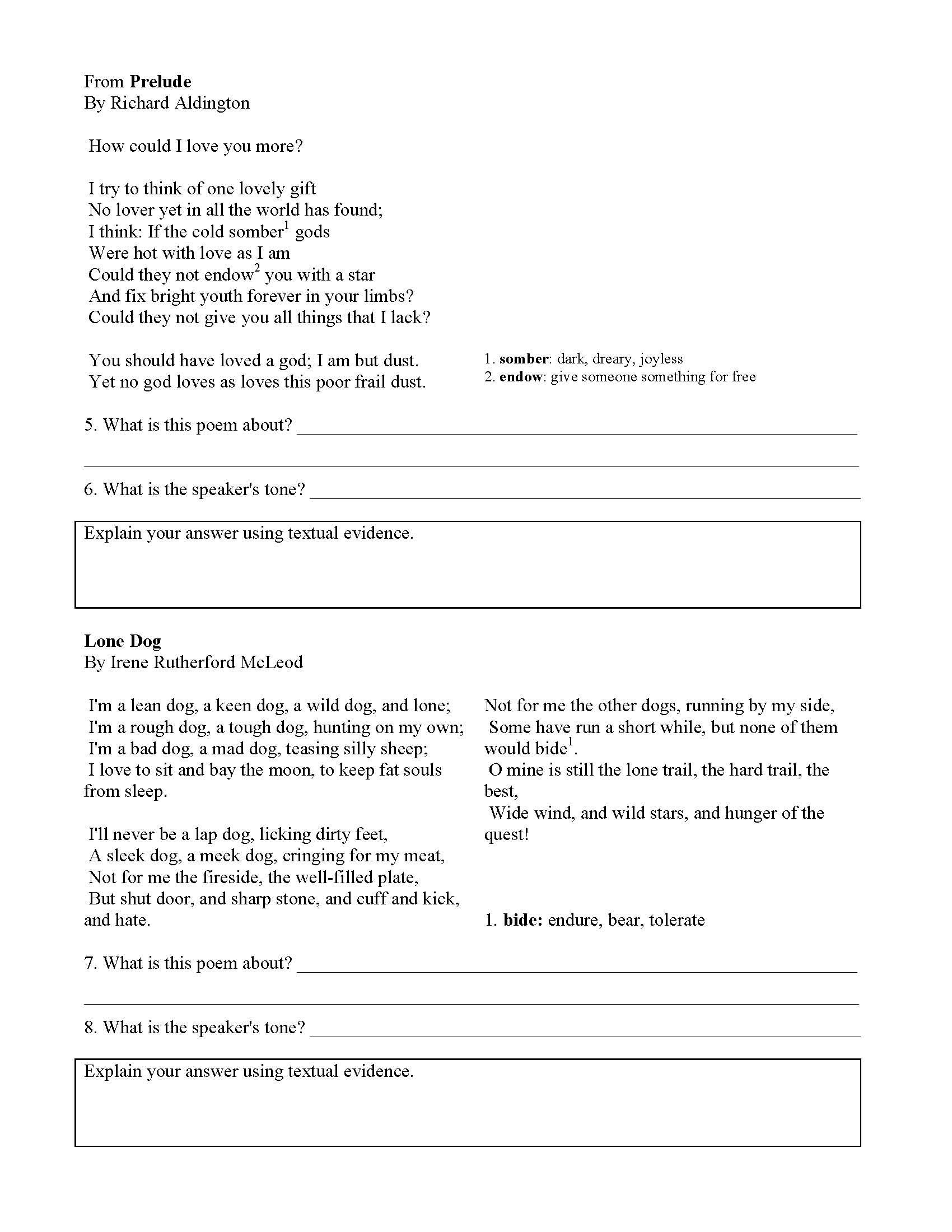 Tone Worksheet 3