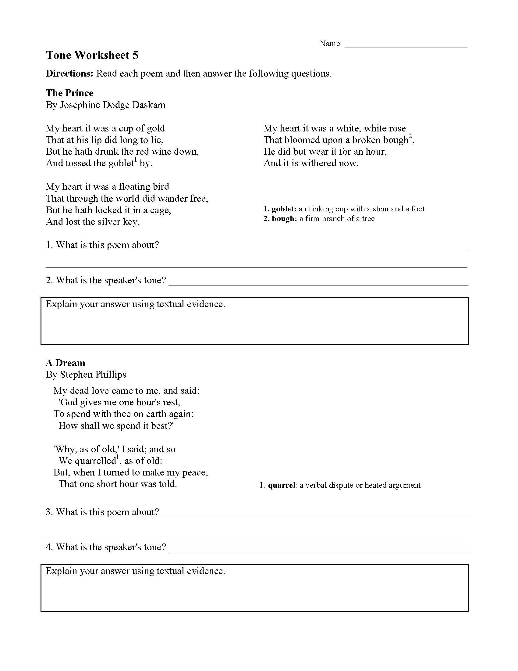 Tone Worksheet 5