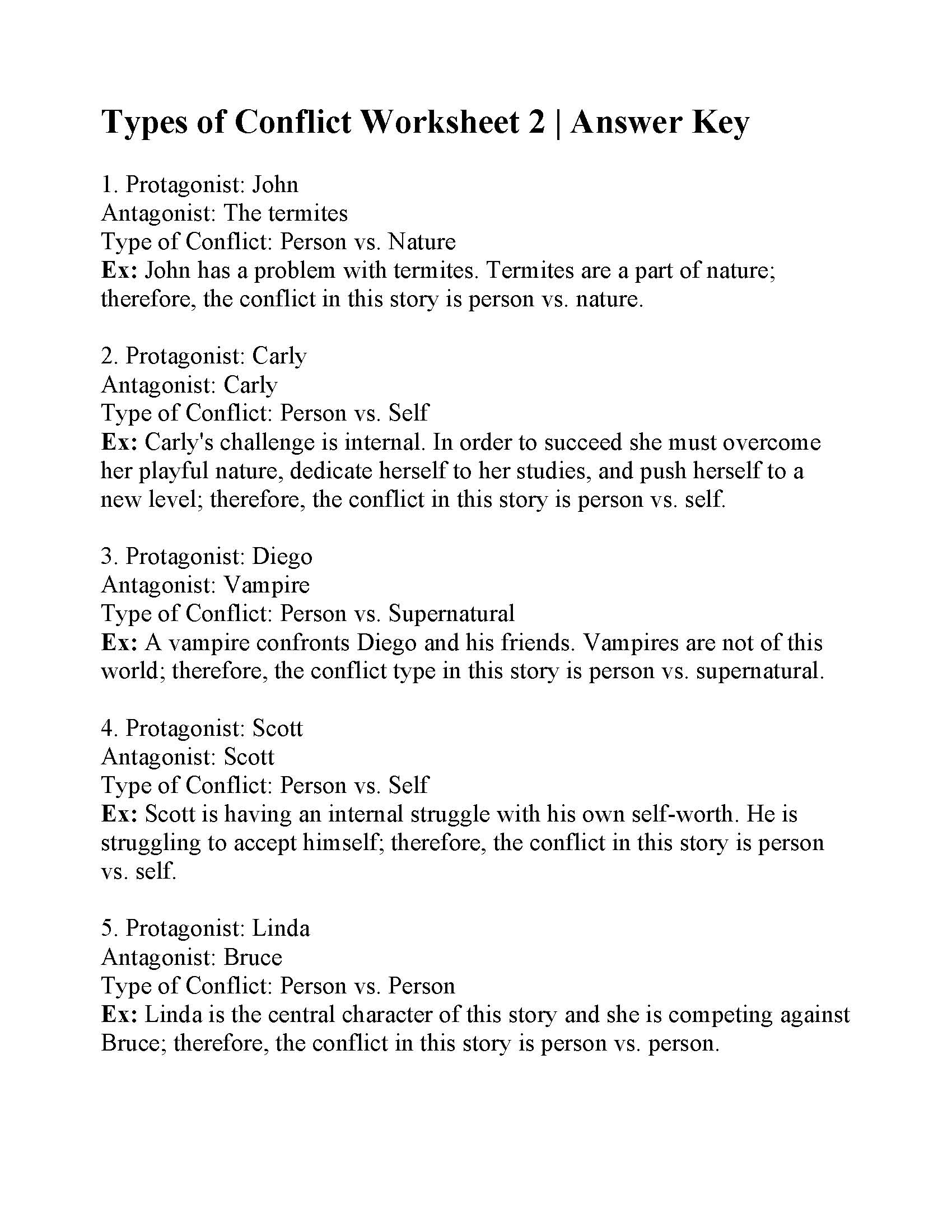 Types Of Conflict Worksheet 2