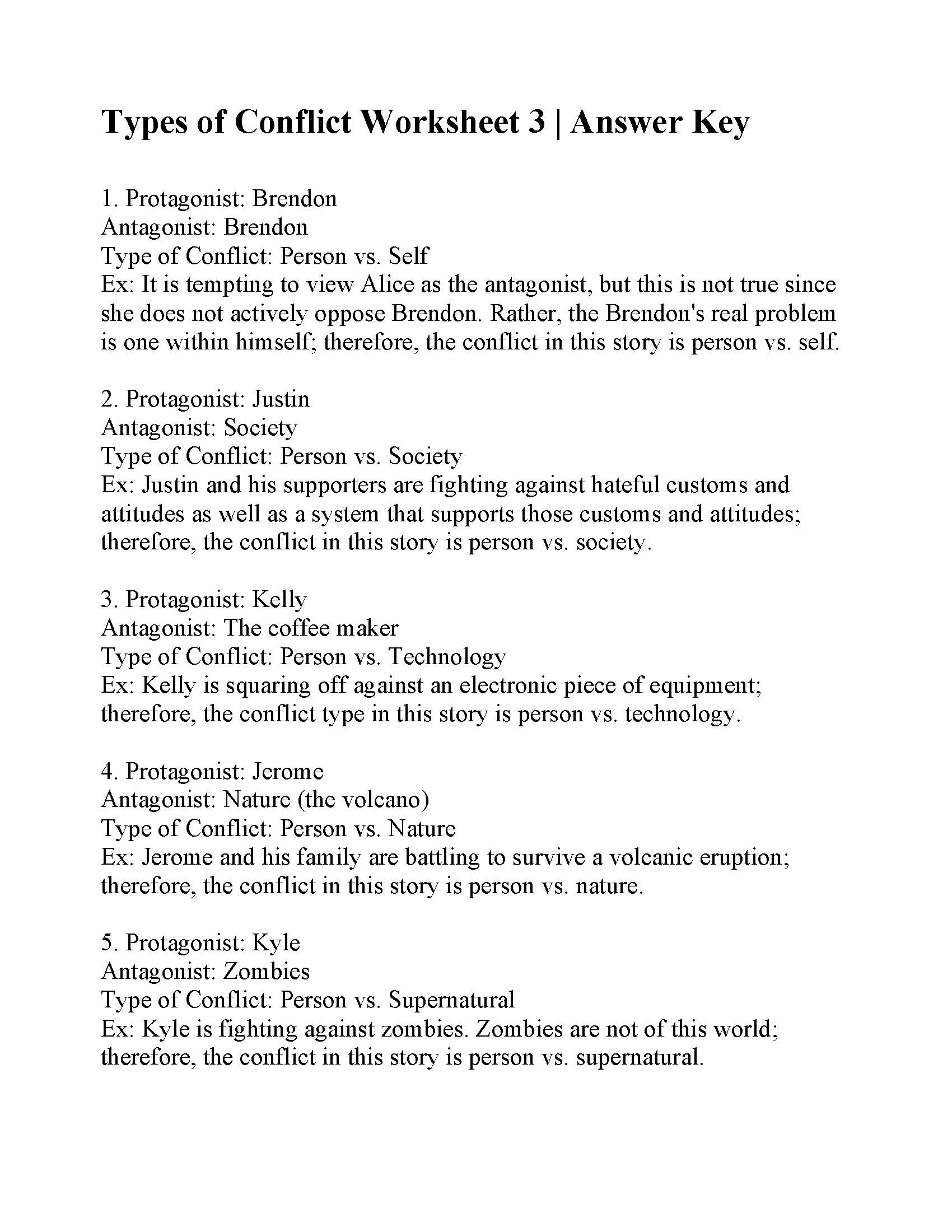 Types Of Conflict Worksheet 3