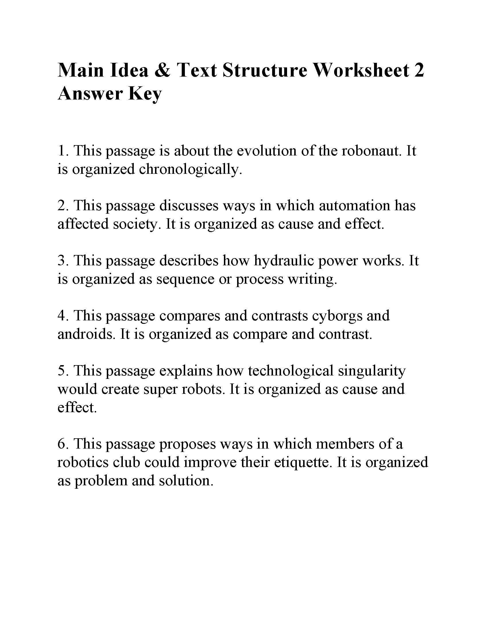 Main Idea And Text Structure Worksheet 2
