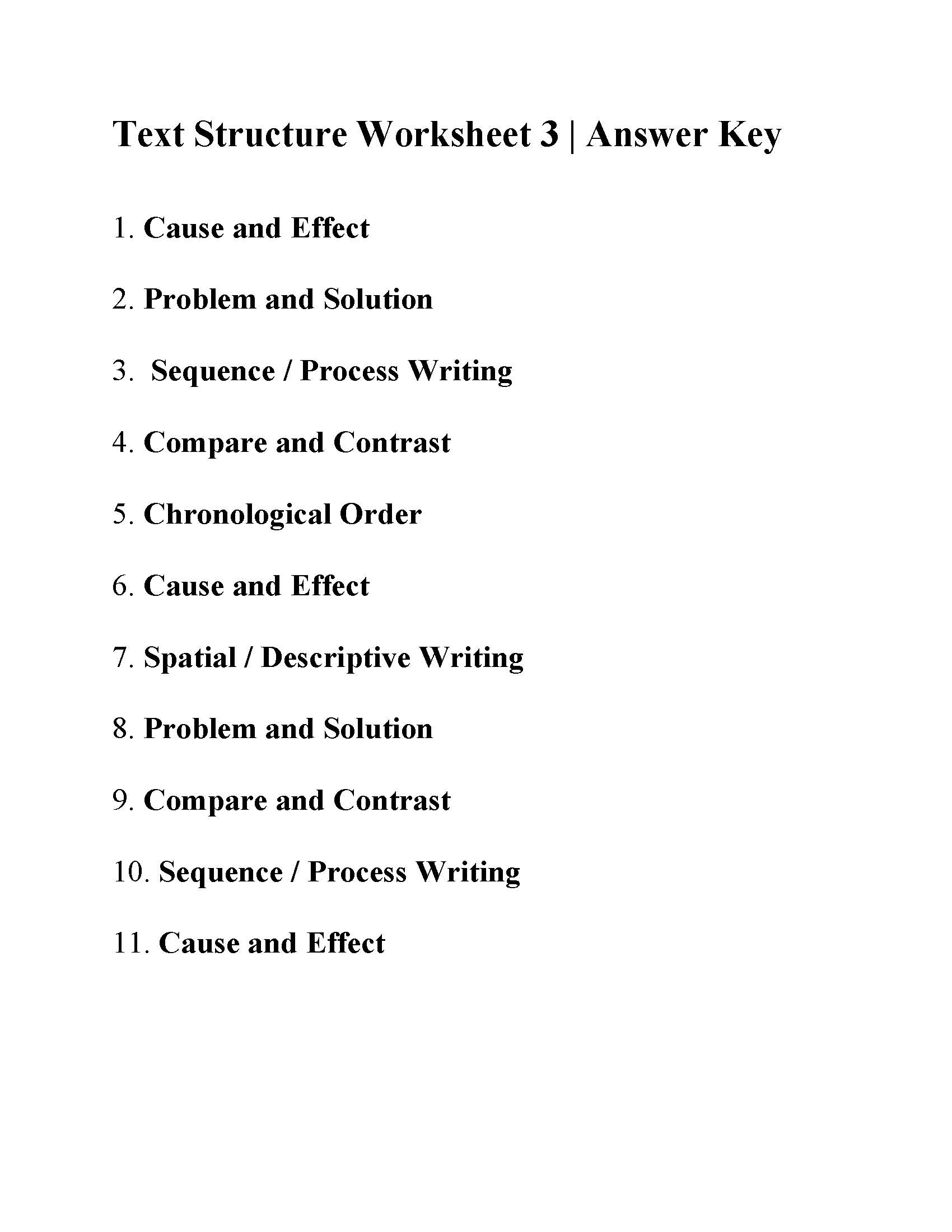 Text Structure Worksheet 3