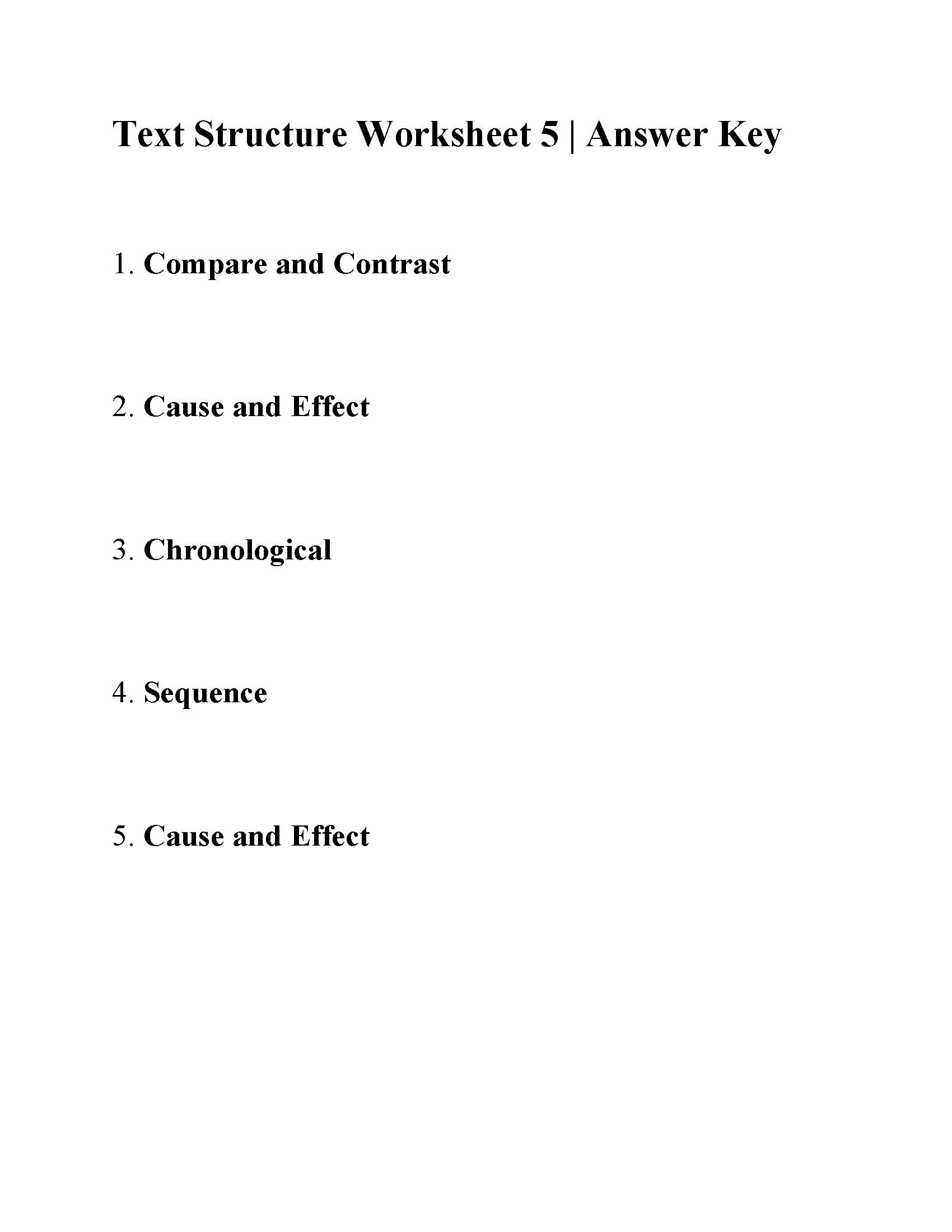 Text Structure Worksheet 5