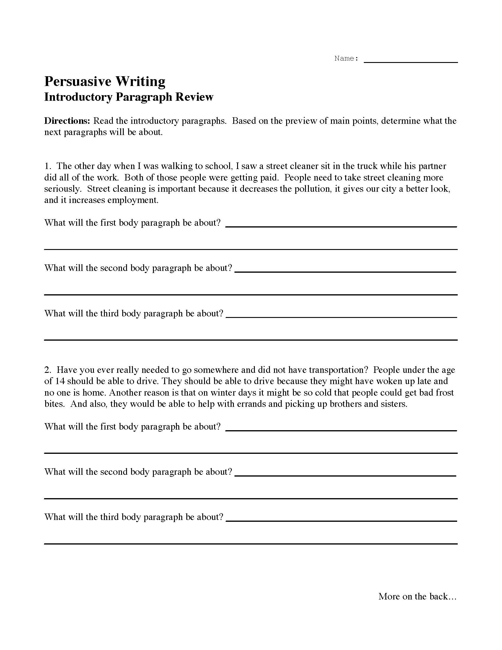 Introductory Paragraph Review Activity