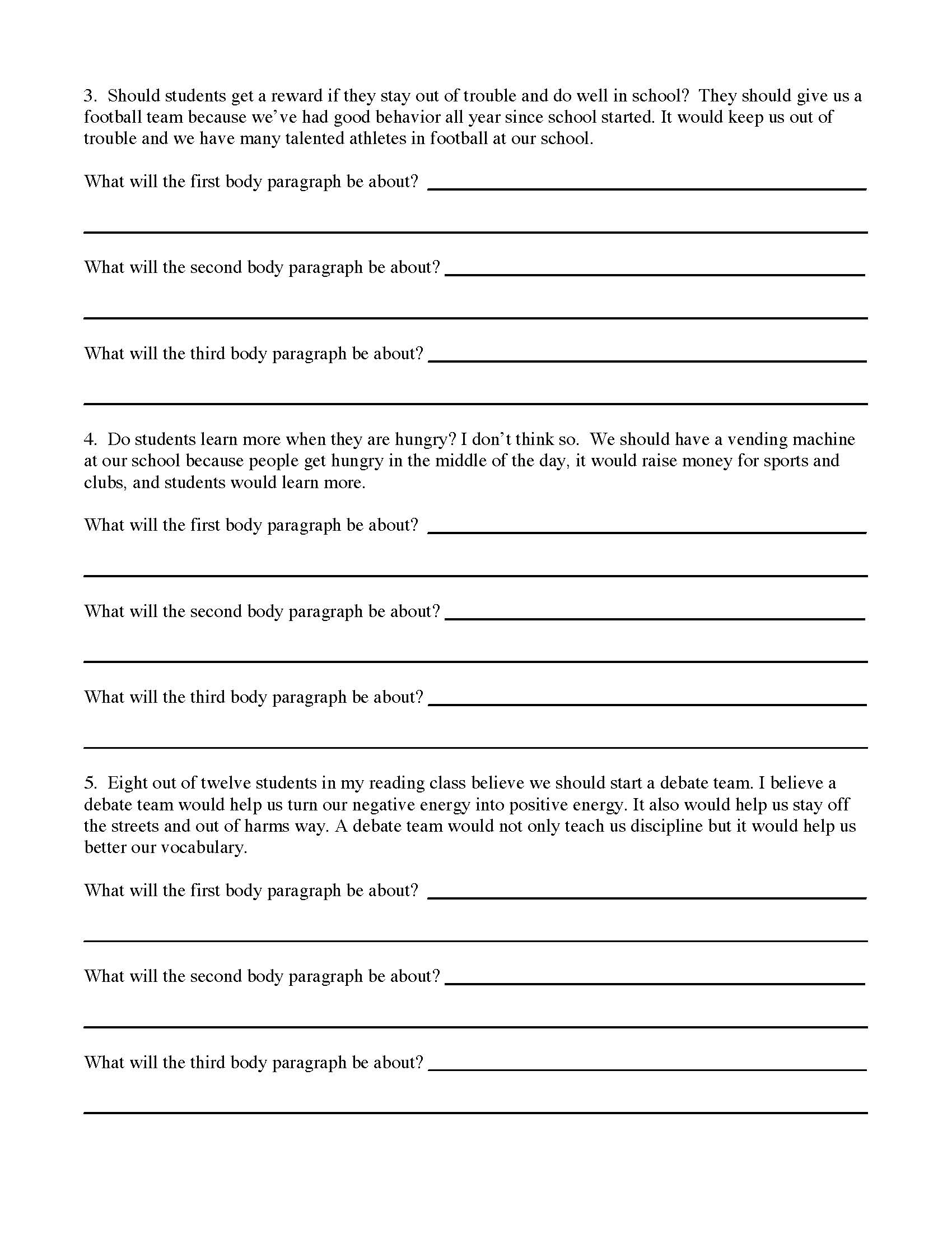 Introduction Paragraph Worksheet Persuasive Essay