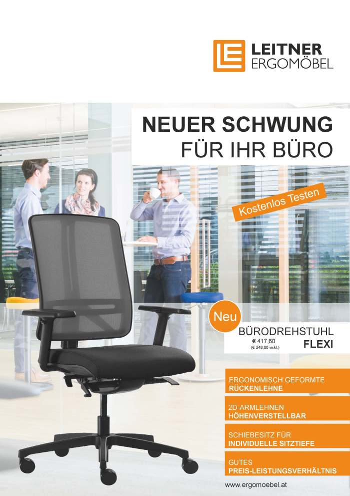 Titelseite Büroflyer LEITNER ERGOMÖBEL