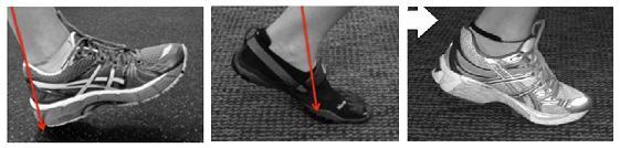 Hiellanding met loopschoen, voorvoetlanding blootvoets of combinatie voorvoetlanding met loopschoen.
