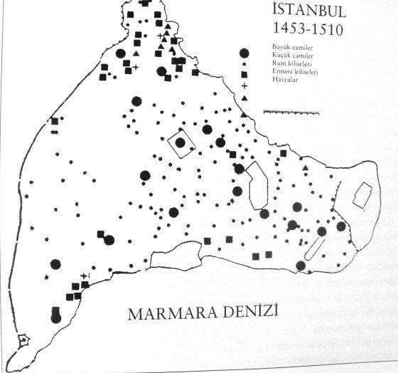 İstanbuldaki 1453-1510 yılları arasında dini yapıların yayılmasını gösteren harita
