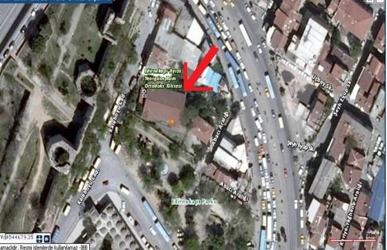 Edirnekapı Aya Yorgi Kilisesinin Yerini Gösteren Harita