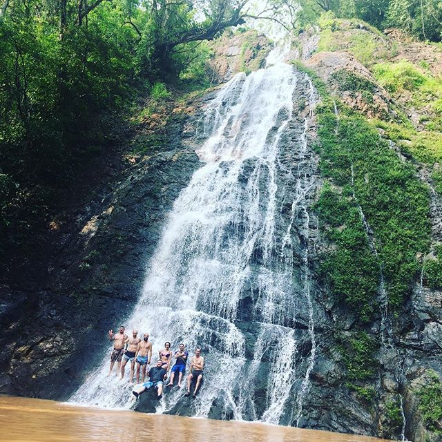 Poseidon and guests in the waterfall after driving up the mountain on ATVs #travelmattic