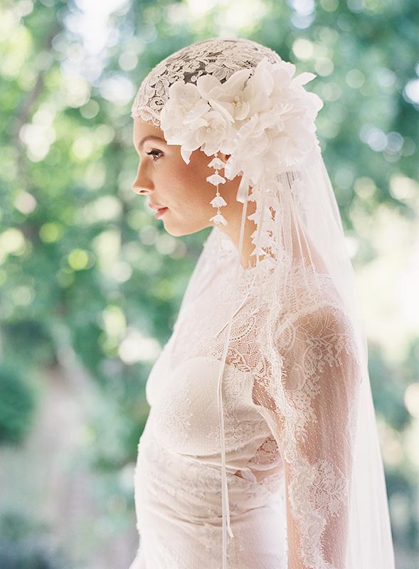 MANON LACE & SILK VEIL BRIDAL CAP