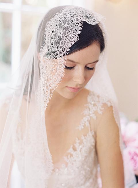 French Chantilly lace mantilla bridal veil