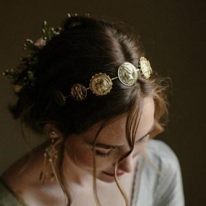 coin wedding tiara