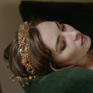 wedding crown, roman coins, bridal tiara, diadem, golden crown, headpiece