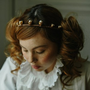 Rose bud wedding crown