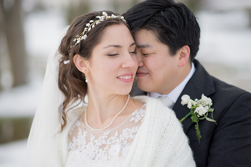 real bride with lily crown