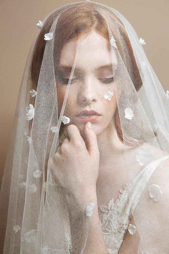 Many petals silk tulle blusher veil