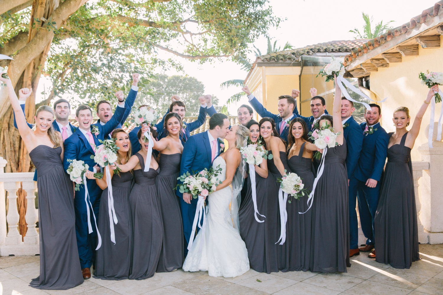 large bridal party at the addison in boca raton