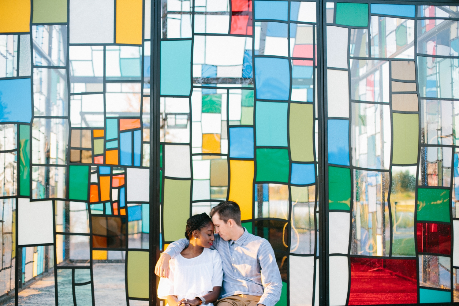stained glass house engagement photos in orlando