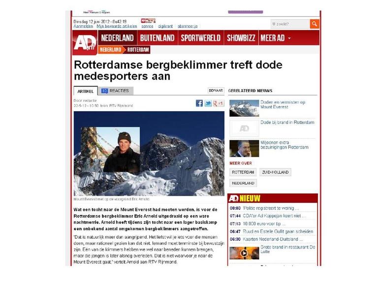 AD – Rotterdamse bergbeklimmer treft dode medesporters aan