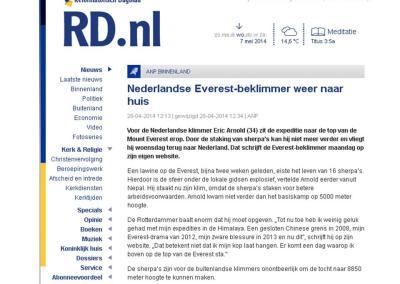 Reformatorisch Dagblad – Nederlandse Everest-beklimmer weer naar huis
