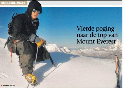 In de Regionale dagbladen: Vierde poging naar de top van Mount Everest