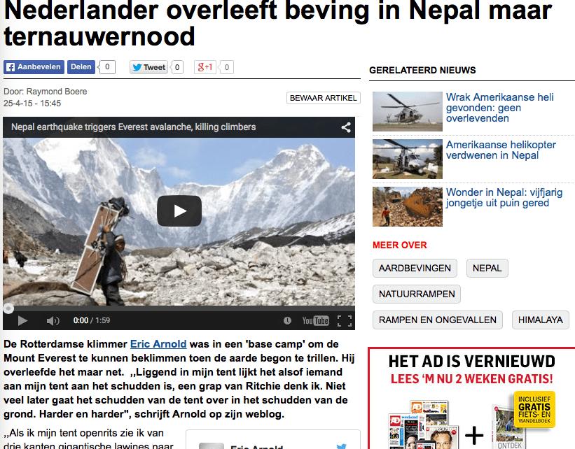 AD – Nederlander overleeft beving in Nepal maar ternauwernood