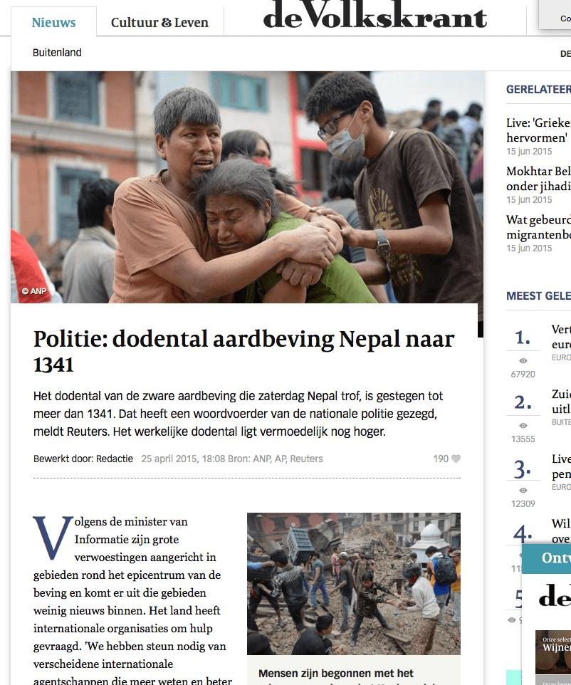Volkskrant – Dodental aardbeving Nepal naar 1341