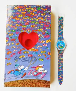 Planet Love by Swatch is a special watch created for lovers, designed by the famous Argentine cartoonist Guillermo Mordillo.