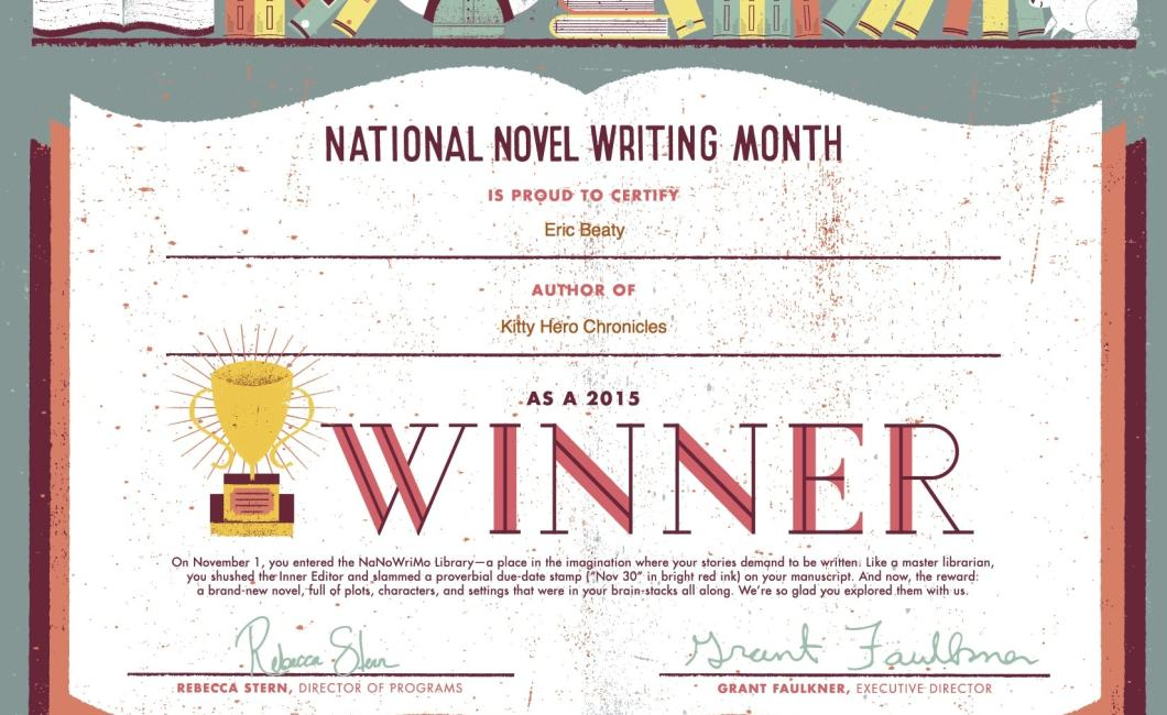 NaNoWriMo Winner Certificate 2015