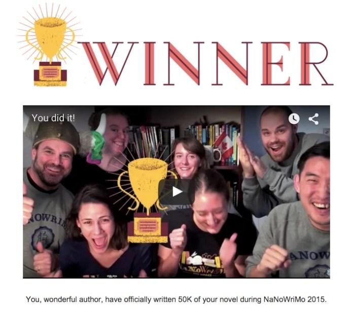 NaNoWriMo Winner video image