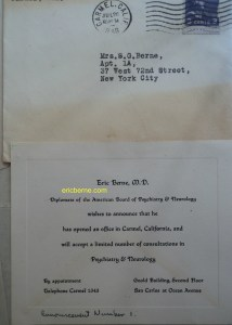 Picture of Letter of Announcement of Eric Berne's office in Carmel in 1946. Letter is to his mother.