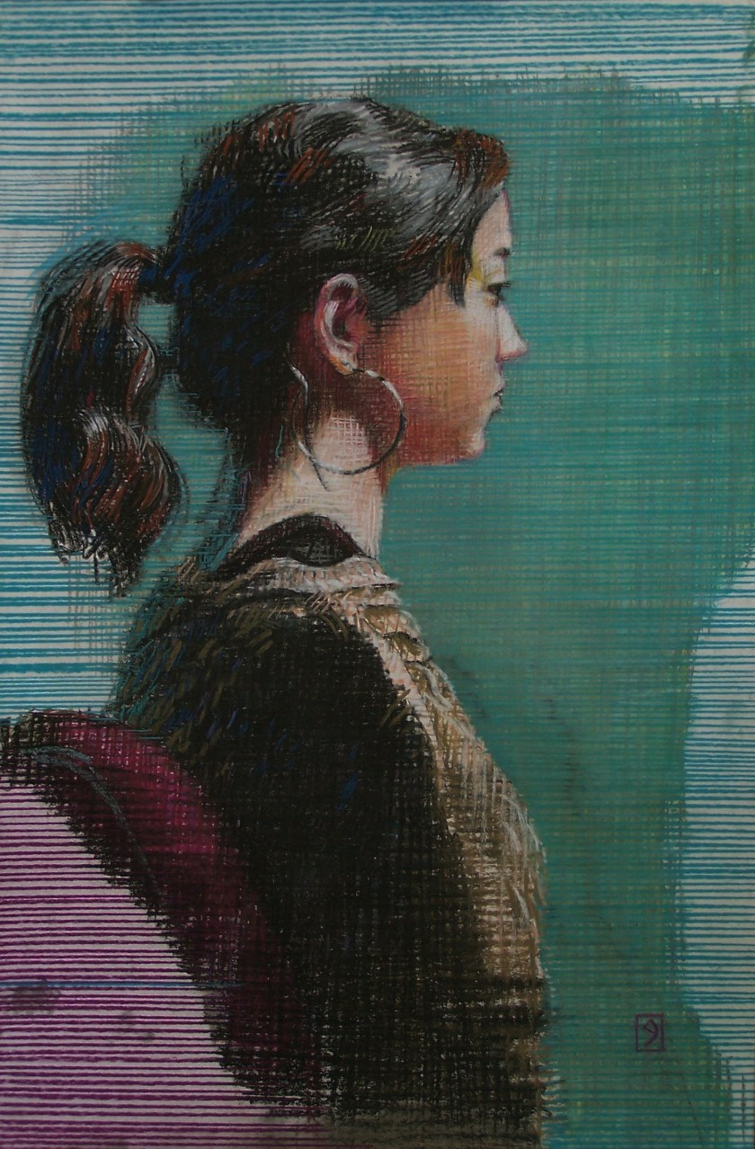 pastel on sanded paper, 22 x 14 inches