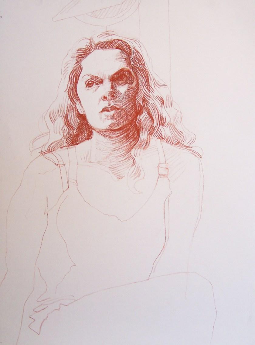 Conté crayon, 24 5/8 x 18 5/8 inches