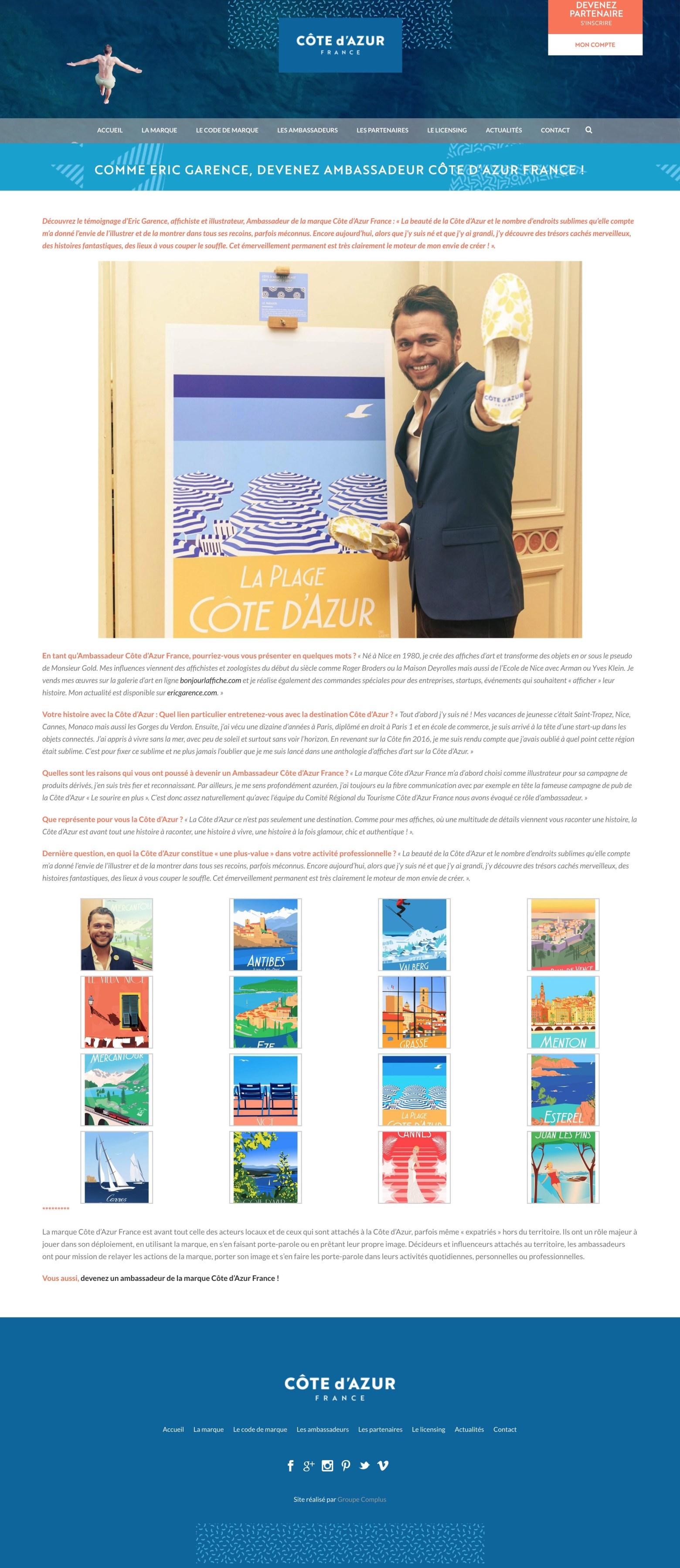 Eric Garence cote d'azur bonjour l'affiche illustrateur vintage retro poster
