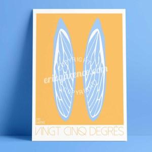 Provence Cigale Affiche Minimaliste Garence Eric Ailes pin parasol bleu jaune soleil