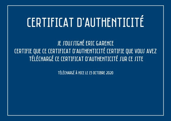 Certificat authenticité eric garence nice download art