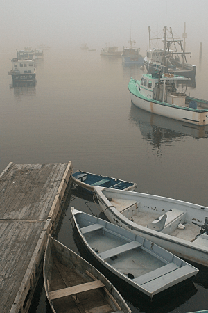 Boats in Fog, Paint Shop Pro Orange Filter Effect, by Eric Holsinger