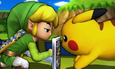 Toon Link and Pikachu in SSB 3DS.