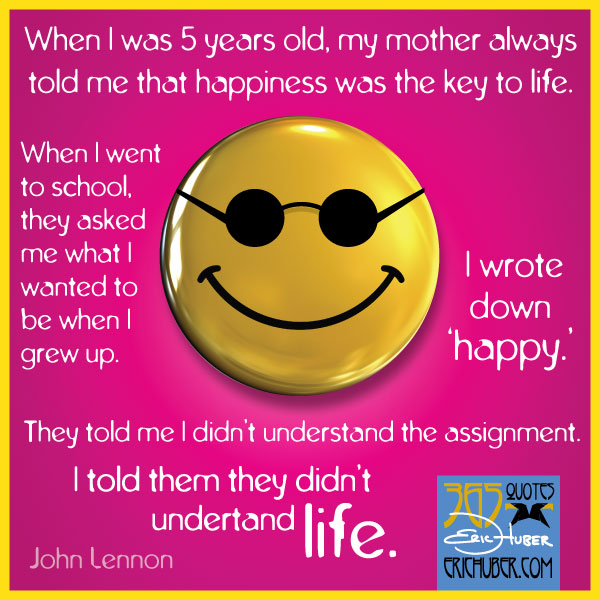 Happiness Poster Quote John Lennon