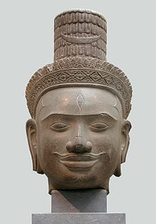 A Cambodian Shiva head showing a third eye.