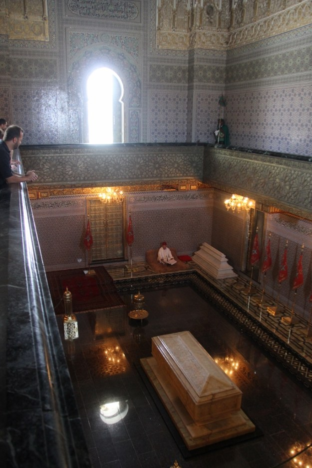 Mausoleum of Mohammed V, the first king of post-colonial Morocco, which is next to Tour Hassan. Both Mohammed V and Hassan II, the present king's father, are buried here in this beautiful mausoleum.