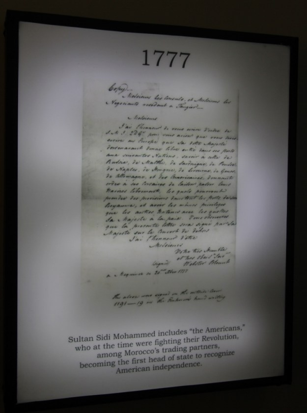 An image at the American Legation Museum, displaying the letter from the Sultan of Morocco in 1777 that was the first official recognition of the United States as a new nation.