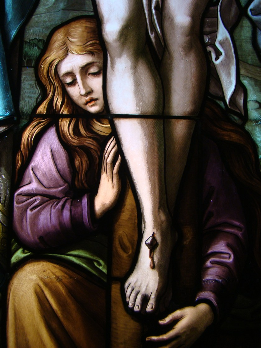 """Mary Magdalene,"" stained glass from St. Kilian's Church in Sülzbach, Germany (Photo by Peter Schmelzle)"