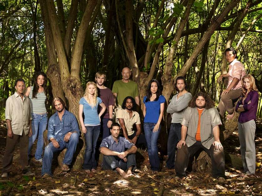 Our favorite survivors of Oceanic Flight 815; Hurley is on the far right with the orange undershirt.