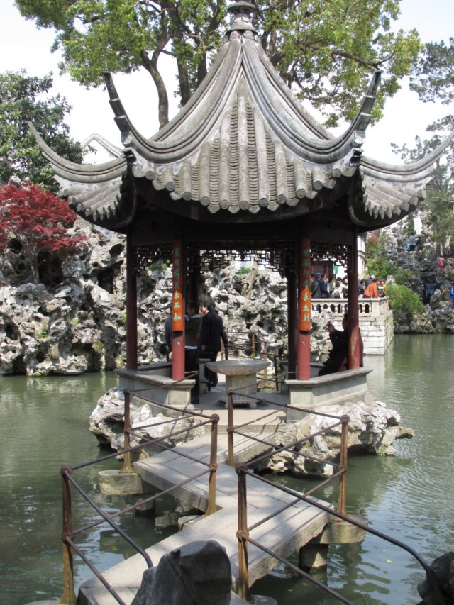 Mid-pond pavilion with Taihu rock in the background, at Lion's Grove (Shi Zi Lin).
