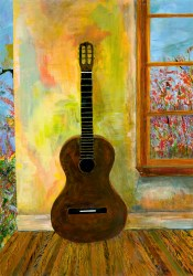 Stringless Guitar on a Lay Afternoon | 19 x 27in Acrylic, tempera, pencil on paper | 2012