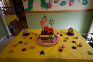 Hungry Caterpillar Cake - Cake Table Setup