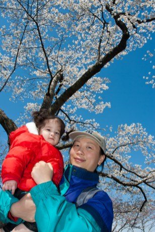 Scarlett and Mom at her first Cherry Blosom Festival